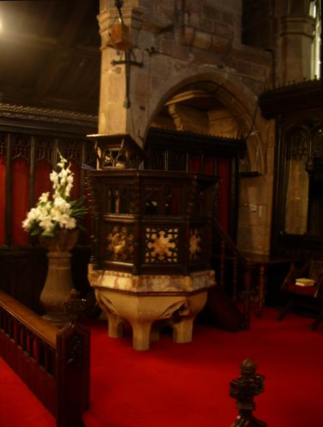 The Font of St Mary's The parish Church of Cheadle.