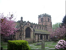 SJ8588 : St Mary's The parish Church of Cheadle. by Alexander P Kapp