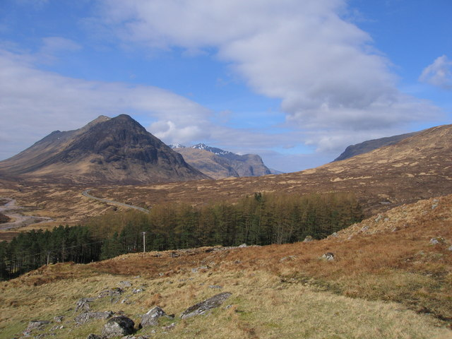 Looking towards Glencoe, the wood at Altnafeadh in the foreground