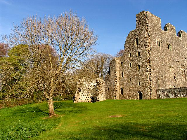 Oxwich Castle in April