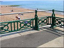 TQ2804 : Beach and Railings by Simon Carey