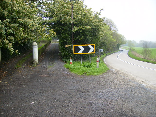 Private driveways leaving the A76 road at Allanton