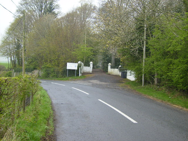 Driveway entrance to the Allanton Peace Centre near Burnhead