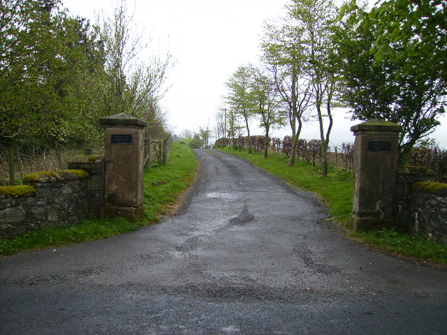 Grand gateposts at driveway entrance road to Gribton