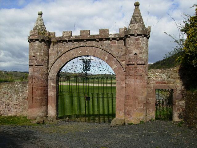 Unique sandstone gateway on back road at Dryburgh