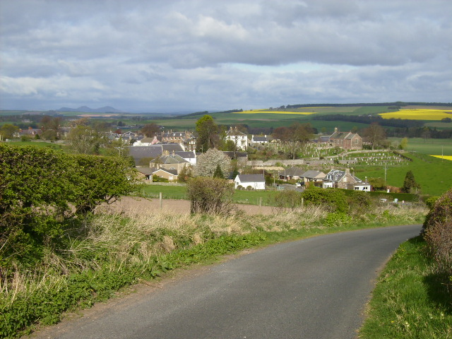 Morebattle village seen from a road section of the St.Cuthbert's Way