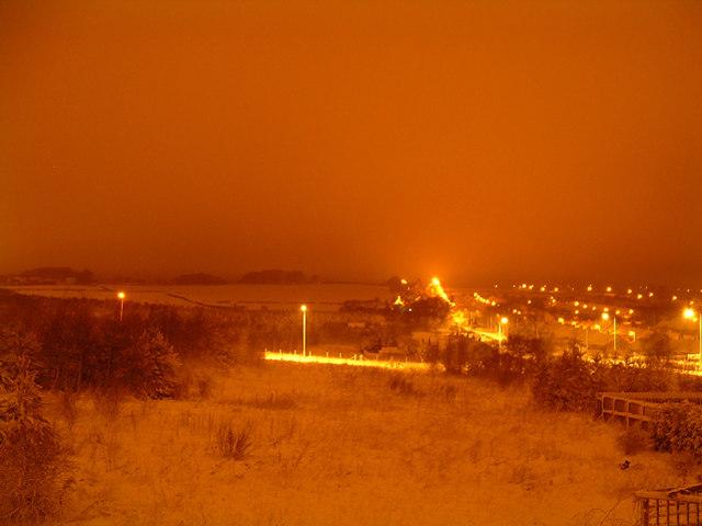 Leadgate on a snowy night