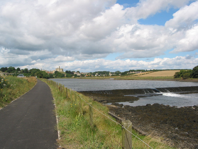 The weir on the Coquet river near Warkworth Castle