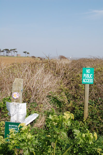 Former route of footpath near Bawdsey