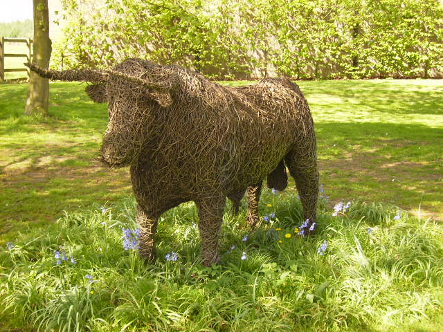 Willow sculptured Bull at Potter Hill Farm