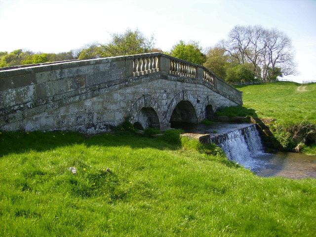 Waterfall at Pickering Bridge in Hovingham Park