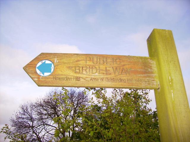 Bridleway sign in the Howardian Hills AONB