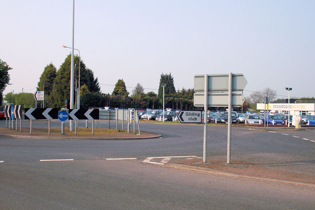 The Challock roundabout and Crossroads Motors