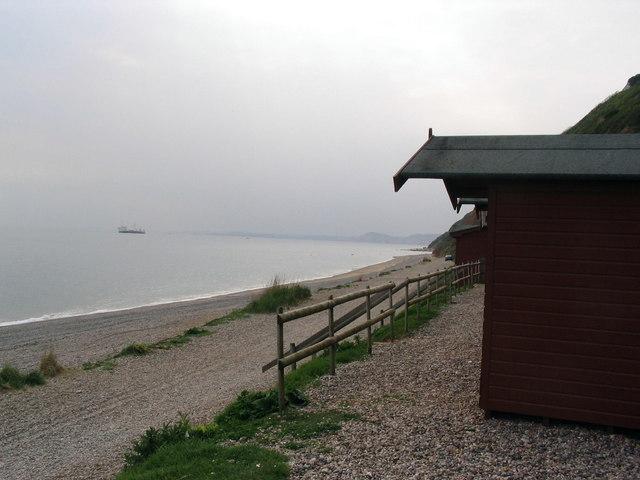 Beach and beach huts at Branscombe