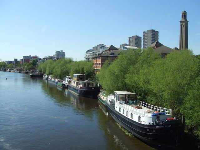 Houseboats at Brentford, taken from Kew Bridge looking West