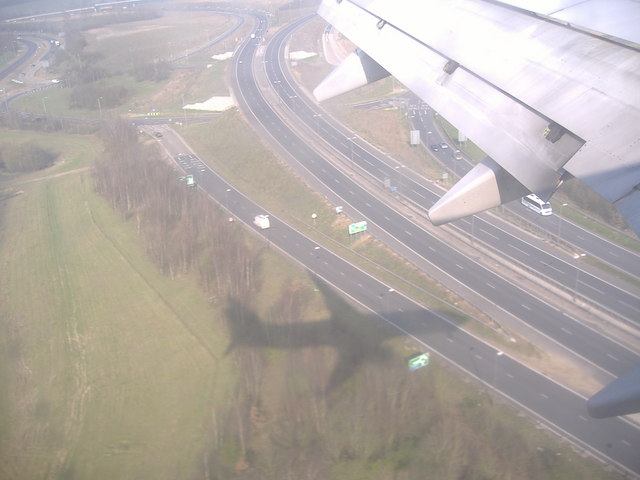 Landing over the A120 at Stansted