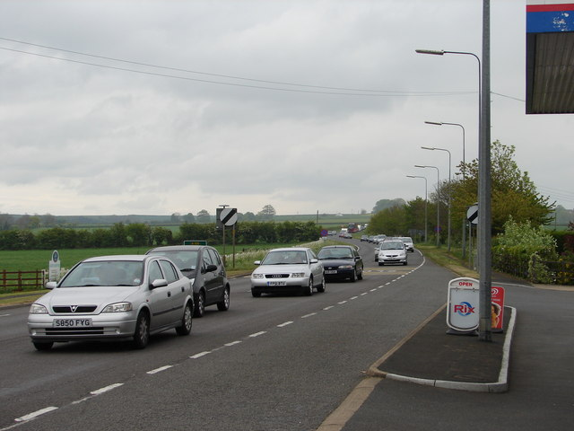 Bank Holiday Monday traffic approaching Horncastle
