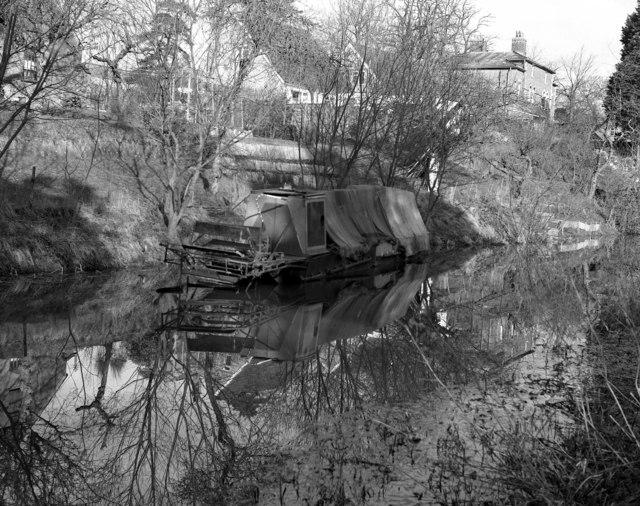 Stern wheel paddler, near Brickham Bridge, Kennet and Avon Canal