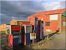 NT9629 : Old petrol pumps at Bendor by Walter Baxter