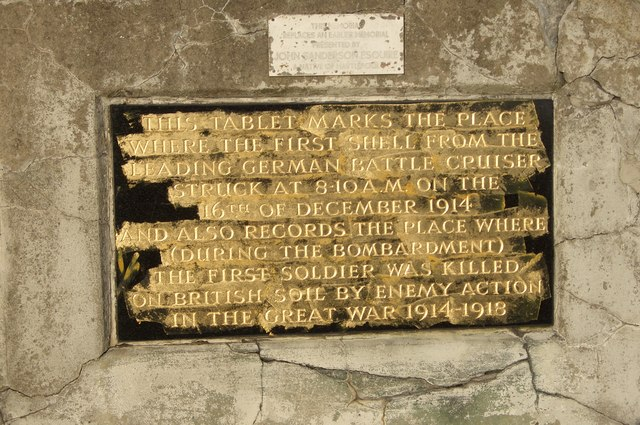 Memorial to the first British soldier killed on British soil during the Great War