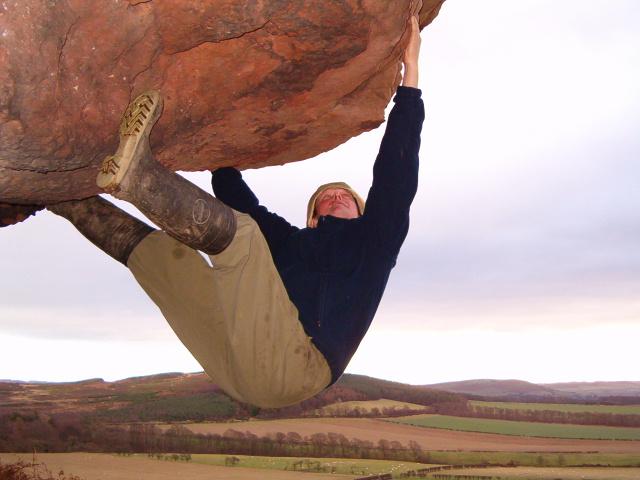 Goatscrag Hill Crag (and well equipped rock climber)
