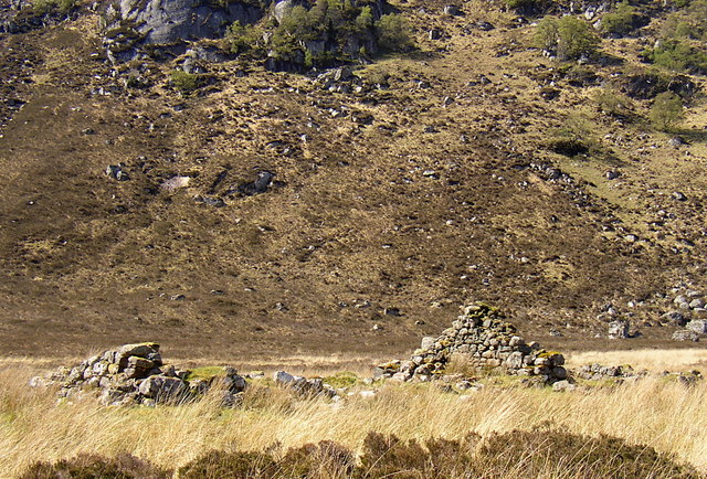 Remains of a croft beside the  Gruinard River
