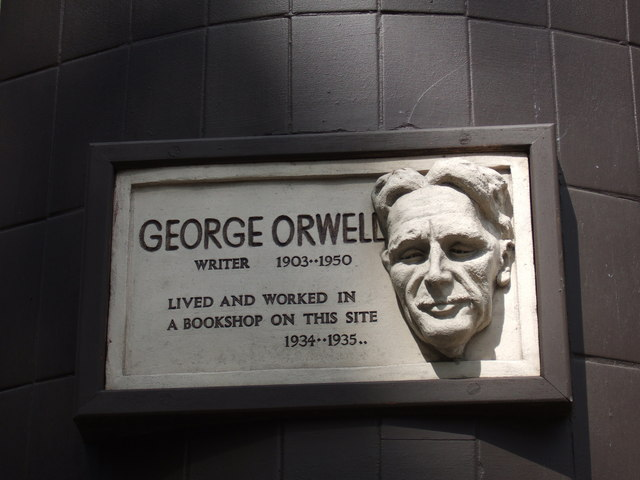 Photo of George Orwell white plaque