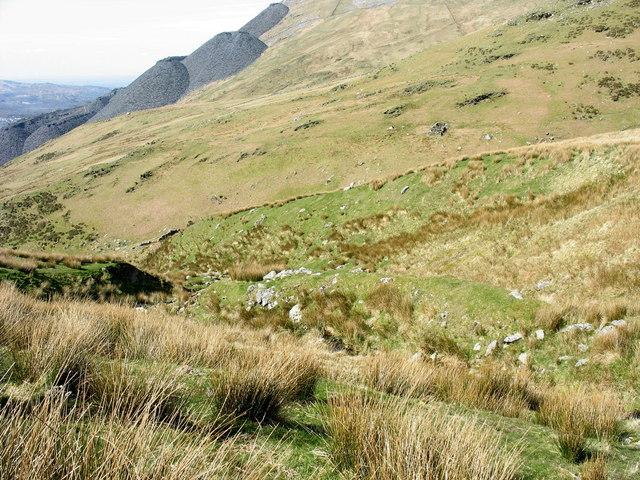 Stream erosion in lower Cwm Gafr