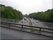 SJ8441 : M6 Motorway, looking south. by Brian Green