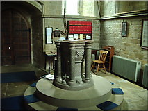 SD3676 : Font, The Parish Church of St John the Baptist, Flookburgh by Alexander P Kapp