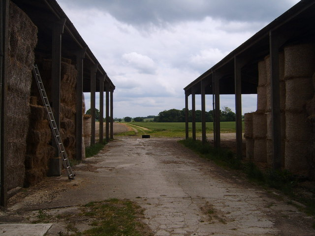 Two adjacent barns with track between