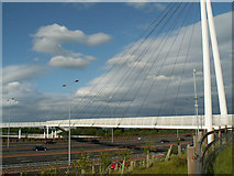 SJ8092 : Suspension bridge over the M60 near Sale Water Park by Phil Champion