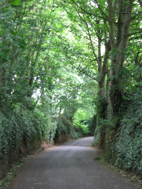 Minor road leading down to A30, Babylon Hill