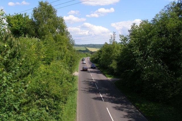 Badger Farm Road from Whiteshute Bridge