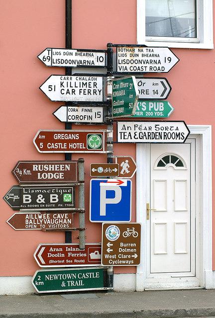 Irish Road Sign in Ballyvaughan