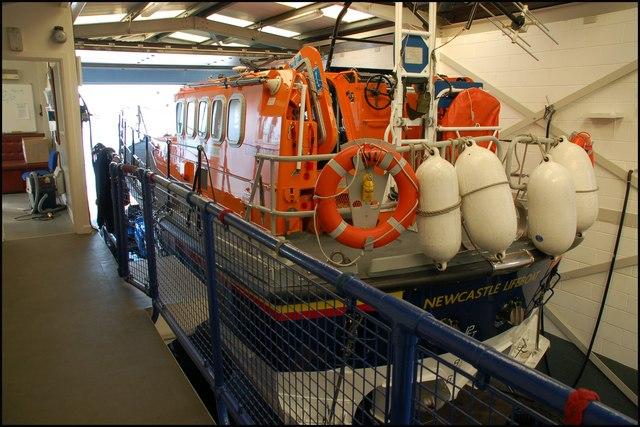 Inside Newcastle lifeboathouse