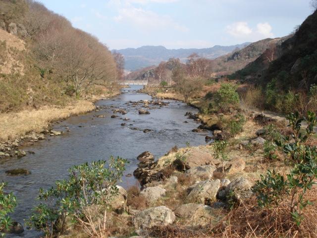 Afon Glaslyn and Footbridge at Llyn Dinas Outflow