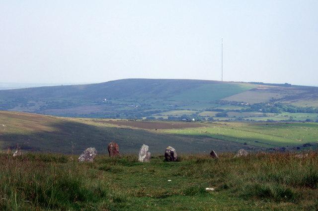 Bedd Arthur and distant mast