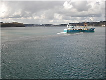SH5873 : Menai Strait from Bangor Pier by Trevor Rickard