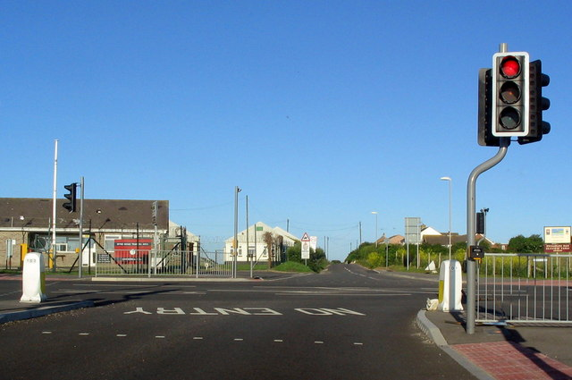 Traffic lights on road junction at Chickerell
