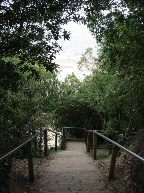 Steps to the beach at Highcliffe