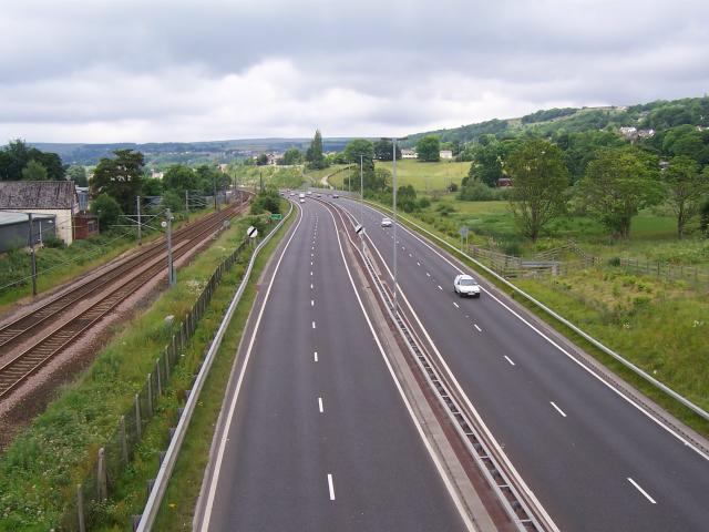 Railway Line to Skipton and A650 Road to Keighley