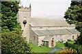 SD3598 : Hawkshead: parish church; hills beyond by Chris Downer