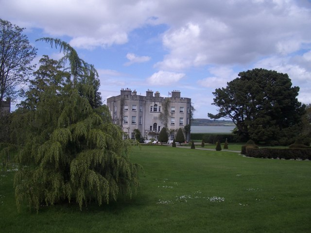 Glin Castle from the gardens, with the Shannon beyond