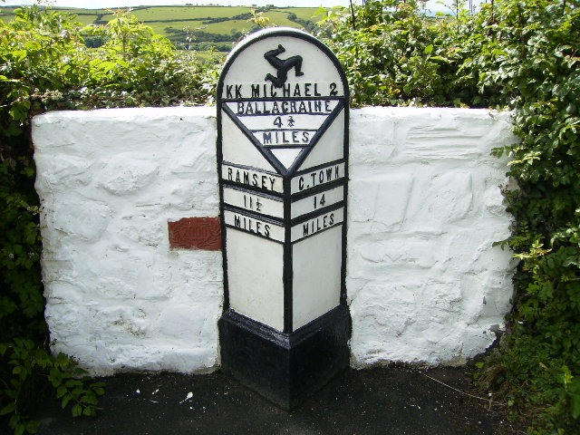 Milepost at Ballaskyr on the Isle of Man TT Course