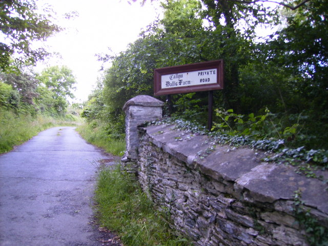 Private lane from junction leading to Ballig Farm