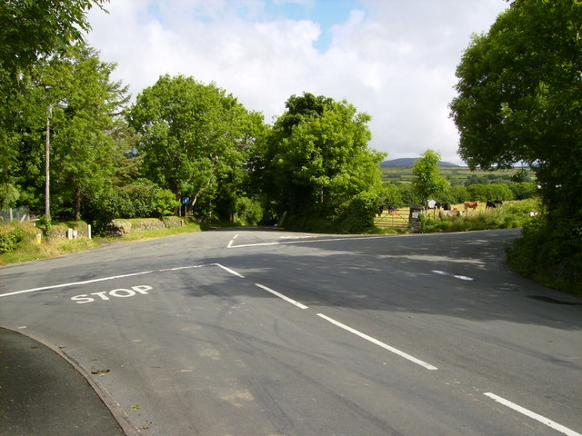 The approach to Abbeylands Crossroads from the A22