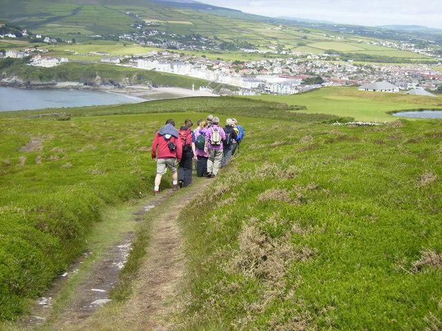 The 95 mile long Isle of Man Coastal Path above Port Erin