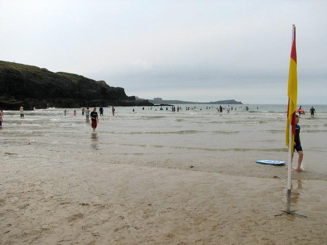 Bodyboarding on Porth beach