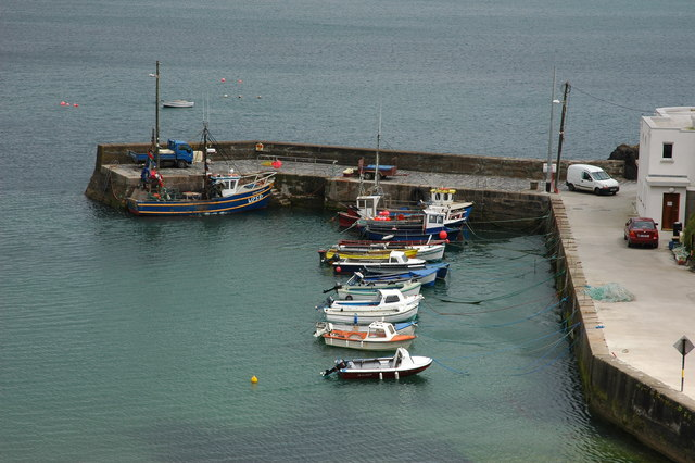 Boats in a harbour at Dunabrattin Head